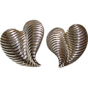 GIVENCHY Designer Silver Tone Heart Shaped Earrings