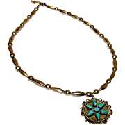 Vintage Native American Zuni Old Pawn Sterling Silver Necklace Turquoise Floral Medallion ...