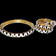 Vintage KJL Kenneth Jay Lane Animal Print Bangle Bracelet and Pierced Hoop Earrings Set
