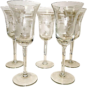 Vintage Finely Etched Footed Wine Glasses Goblets Cordials Stemware with Floral and Butterfly