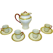 Antique Victorian Syracuse Porcelain Chocolate Pot 4 Cups and Saucers Set