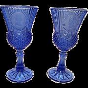Fostoria Cobalt Blue Avon Vintage Pair of Goblets Glasses Stemware George & Martha Washington