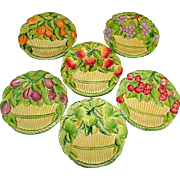 Vintage Italian Majolica Hand Crafted and Decorated Fruit Plates. Set of 6 Fruit Basket Design