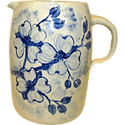 CASEY POTTERY Hand Turned Large Water Jug Pitcher Cobalt Blue on White Stoneware Collectible .