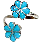 Vintage Native American Zuni Sterling Silver Inlay Turquoise Flowers Adjustable Ring