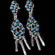 Vintage ZUNI Native American Sterling Silver Sleeping Beauty Mine Turquoise Pierced Dangle ...