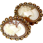 REDUCED Vintage Carved Shell 12K GF Screw Back Cameo Earrings