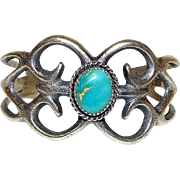 Native American Navajo Sand Cast Sterling Silver Turquoise Cuff Bracelet by Collectible Artist