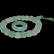 Vintage Green Jade Jadeite Adjustable Beaded Bracelet and Ring Size 8.5 Set