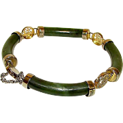 Green Jade Chinese Prosperity, Longevity, Good Fortune Symbols Link Bracelet with Safety Chain