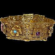 Vintage Goldette Victorian Revival Gold Tone Charm Filigree Statement Bracelet with Safety ...