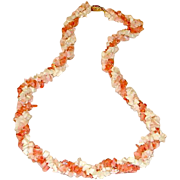 Vintage White Pink Salmon and Red Branch Coral Triple Strand Necklace with Ornate Clasp