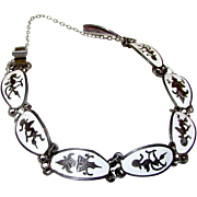 Vintage Sterling Silver 925 Siam Niello White Enamel Tribal Goddess Design Bracelet with Safet