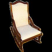 Antique Victorian Upholstered Walnut Parlor Rocking Chair Rocker