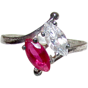 Art Deco Sterling Silver Ruby Red Spinel and Quartz Crystal Cocktail Ring Size 9