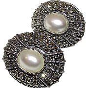 Judith Jack Marcasites Sterling Silver Mabe Pearl Pierced Clip Statement Earrings