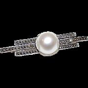Judith Jack Marcasites Sterling Silver Mabe Pearl Art Deco Design Brooch