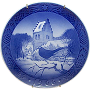 "ROYAL COPENHAGEN 1966 Christmas Plate ""Blackbird"" Bird Design"