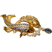Elizabeth Taylor for Avon Sea Shimmer Koi Fish Gold Plated Faux Pearls, Opals, Topaz Brooch Pi