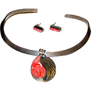 Taxco Mexican Sterling Silver Faux Pink Salmon Coral Collar Style Necklace and Pierced Earring