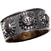 Sterling Silver Sun Face Celestial Band Statement Ring Size 7.5