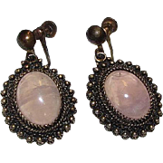 Vintage Pink Rose Quartz Gold Over Sterling Silver 925 Vermeil Dangle Statement Earrings Screw