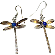 Vintage Native American Navajo Sterling Silver Lapis Lazuli Dragonfly Pierced Dangle Earrings