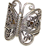 Vintage Art Nouveau Sterling Silver 925 Butterfly Filigree Statement Ring Size 7