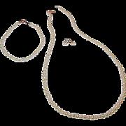 Cultured Pearl 14k Gold Filigree Clasps Necklace, Bracelet, Pierced Earrings Set