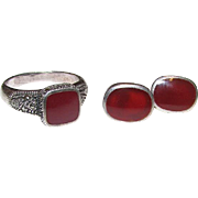 Art Deco Vintage Sterling Silver 925 Carnelian Marcasites Ring Size 7 and Pierced Earrings Set