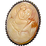 Antique 800 Silver Victorian Artemis Diana Greek Goddess Large Hand Carved Shell Cameo Brooch