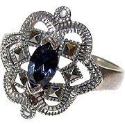 Art Deco Sterling Silver Lab Sapphire Marcasites Statement Cocktail Ring Size 8.5