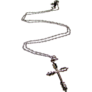 Sterling Silver 925 Cross Pendant on Sterling Silver Necklace
