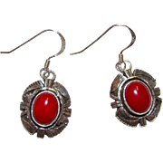 Native American Navajo Sterling Silver Coral Pierced Dangle Earrings Tribal Design