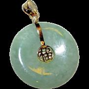 Green Jade Jadeite 14K Gold Reversible Good Luck Charm Donut Pendant