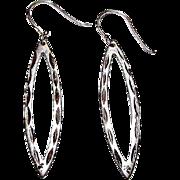 Art Deco Sterling Silver Sterling Silver Etched Pierced Dangle Statement Earrings Geometric De
