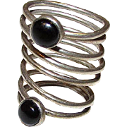 Vintage Art Deco Sterling Silver Onyx Spiral Swirl Statement Ring Size 7