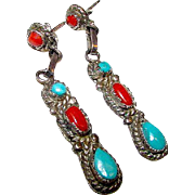 Native American Navajo Old Pawn Sterling Silver Sleeping Beauty Turquoise and Mediterranean Co
