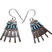 Vintage Native American Zuni Old Pawn Sterling Silver Sleeping Beauty Mine Turquoise Pierced D