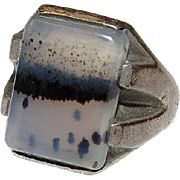Art Deco Sterling Silver Clear White Black Tourmalinated Quartz Statement Ring Size 8