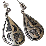Vintage Native American HOPI Sterling Silver Pierced Dangle Statement Earrings Tribal Design