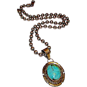 Vintage Native American Navajo Sterling Silver Turquoise Pendant Necklace by Highly Collectibl