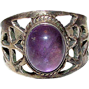 Art Deco Sterling Silver Amethyst Filigree Statement Cocktail Statement Ring Size 8
