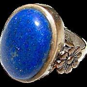 Art Nouveau Sterling Silver Blue Lapis Lazuli Statement Cocktail Ring Size 5.5 Romantic Floral