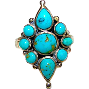 Native American Old Pawn Zuni Sterling Silver Turquoise Ring Size 6