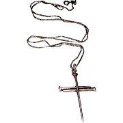 Art Deco Sterling Silver 925 Cross Pendant on Sterling Silver Necklace