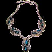 Vintage Native American Navajo Justin Morris Sterling Silver Paua Shell Necklace Squash Blosso