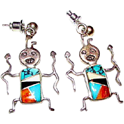 Tribal Sterling Silver Turquoise MOP Spiny Oyster Inlay Zuni Native American Kachina Warrior .