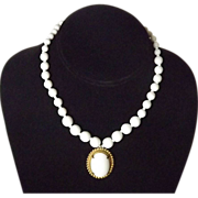 SALE Miriam Haskell Milk Glass Choker Necklace