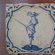 Delft Tile 17th Century Hand Painted Hunter with Matchlock